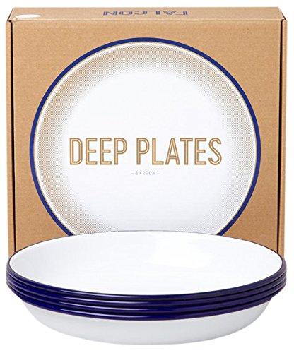 Falcon Enamelware Teller-Set tief 4-teilig :: Blue-White :: Deep Plate Set emaille
