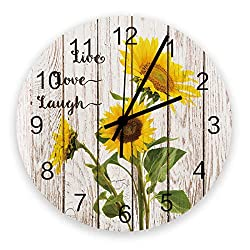 Queen Area Wooden Wall Clock Sunflower Live Love Laugh Vintage Farm Rustic On Wood Texture Silent & Non-Ticking Battery Operated Small Decor Round Wall Clock for Kitchen Office Bedroom 12 Inch