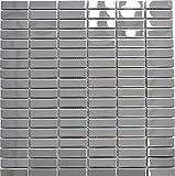 Azulejos de mosaico de acero inoxidable plateado, rectángulo, de acero brillante, para pared,...