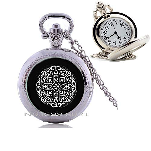 maoqunza Celtic Knot Pendant, Celtic Pocket Watch Necklace, Black and White Celtic Knot, Art Pendant -RG70