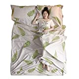 Azarxis Saco de Dormir Ligero Algodón Sábana de Viaje Limpio Bolsa de Dormir para Camping Viajar Hoteles (Blanco, M - 120×210 cm)