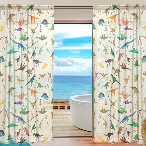 Mnsruu Vorhang Dinosaurier-Muster, durchsichtig, 198 cm lang, Tüll-Voile, Transparente Gardinen Vorhang für Wohnzimmer, Schlafzimmer, 2 stücks