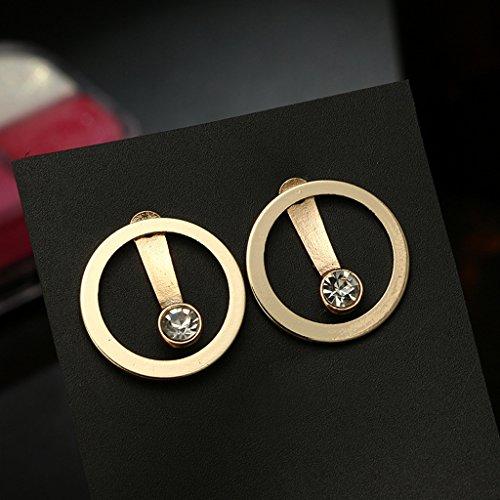 QIANGU Pendientes de oreja, Minimalista de Oro de Cristal de Cuentas Círculo de Stud Pendientes de Doble Lado de la Oí