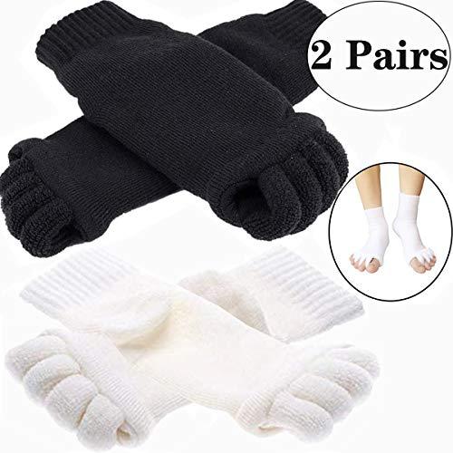 Fiyuer zehenspreizer socken, 2 Paare halbzehensocken Toe Separator Socks socken Toe Comfy massagesocken für Gym Massage Schmerzlinderung Schwarz und Weiß