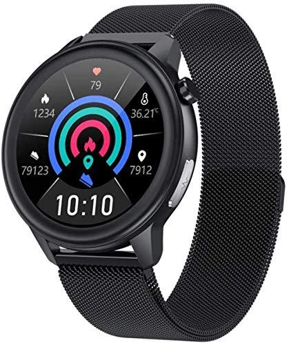 SHIJIAN Exquisito reloj impermeable inteligente con oxígeno en la sangre temperatura corporal ritmo cardíaco continuo monitoreo de la respiración, rastreador de fitness para hombre-F