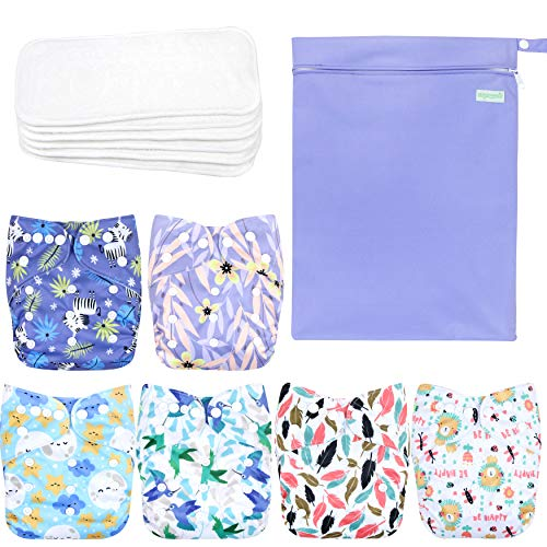 wegreeco Washable Reusable Baby Cloth Pocket Diapers 6 Pack + 6 Bamboo Inserts (with 1 Wet Bag, Leaves, Animals)