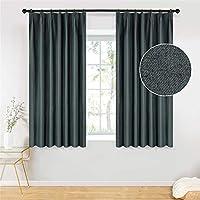 Topfinel カーテン 1級遮光 無地 麻っぽい UVカット 遮像 遮熱 断熱 省エネ おしゃれ 可愛い 洗える 幅100×丈110cm 2枚組 濃いグレー