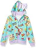 JoJo Siwa Girls' Little Emoji Characters Zip Up Hoodie with Bow on Hood, Neon Green/Pink, L-6x