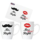BRUBAKER 'Mr. Right & Mrs. Always Right Tassen Set aus Keramik - Grußkarte und Geschenkpackung