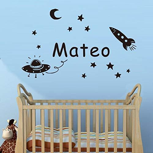 Modeganqingg Space Planet vinilos Decorativos con Nombre Personalizado vinilos Infantiles vinilos Decorativos vinilos para bebés vinilos para habitación Infantil vinilos Negros 58x34cm