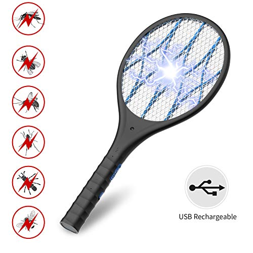 INTELABE Bug Zapper, Mosquito Killer USB Rechargeable Electric Fly Swatter for Home, Outdoor, Powerful 4000V Grid, Detachable Flashlight, LED Light, Safe to Touch with 3-Layer Safety Mesh