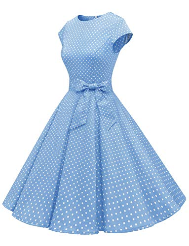Dressystar DS1956 Women Vintage 1950s Retro Rockabilly Prom Dresses Cap-Sleeve S Sky Blue