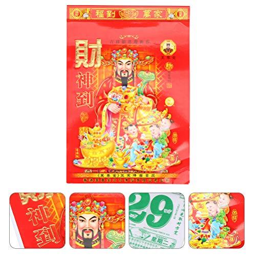 Stobok - Calendario de pared (2021 año del calendario chino de bovino Tradición diaria, calendario de pared, decoración de oficina en casa, regalo de año nuevo)