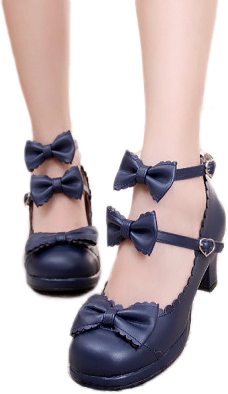 Women's Double Bowtie Straps High Heel Pumps Sweet Princess Girls Lolita Cosplay shoes
