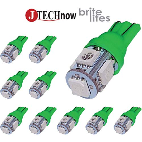 Jtech 10x 194 168 2825 T10 5-SMD Green LED Car Lights Bulb