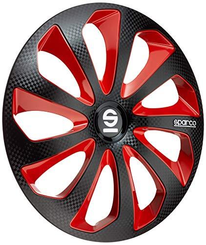 SPARCO SP 1475BKRDC Jeu d'enjoliveurs Sicilia 14-inch Noir/Rouge/carboné
