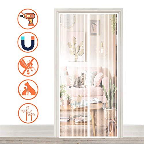 HMHD Magnetisches Moskitonetz Fenster 90x215cm, Insektenschutz Vorhänge für Baby Verschiedene Größen, für Balkontür, Schlafzimmer, Küche - Weiß A