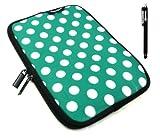Emartbuy® Allview Viva H8 Life 8 Zoll Tablet Schwarz Eingabestift + Polka Dots Grün/Weiß WasserfestNeoprenweichZipGehäuse/Deckel (8 Zoll Tablet)