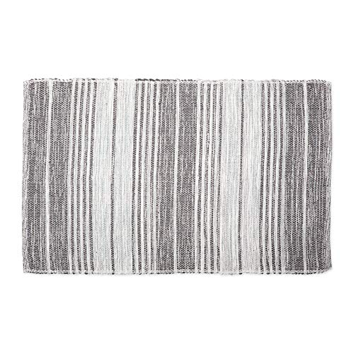 DII Contemporary Reversible Machine Washable Recycled Yarn Area Rug for Bedroom, Living Room, and Kitchen, 2'x3', Variegated Stripe Gray