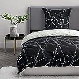 BEDSURE Bettwäsche 135x200 Mikrofaser 2teilig - Bettbezug 135 x 200 2er Set mit 80x80 cm Kissenbezug,Zweige schwarz für Einzelbett mit Reißverschluss