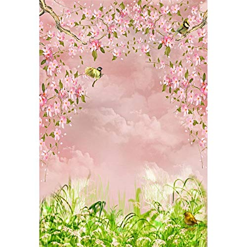 Fondos fotográficos de Retrato de bebé recién Nacido con pétalos de Flores de Primavera Rosa para Estudio fotográfico A1 7x5ft / 2,1x1,5 m