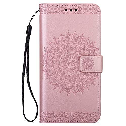 Yobby Brieftasche Hülle für Samsung Galaxy A40,Roségold Handyhülle Bunt Mandala Muster Slim Premium PU Leder Flipcase Magnet mit Kartenfach Handschlaufe Stand-Funktion Schutzhülle