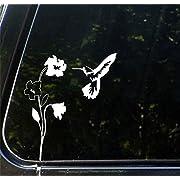 "Hummingbird and Flower - (WHITE) Car Vinyl Decal Sticker - (6.5""w x 8""h)"