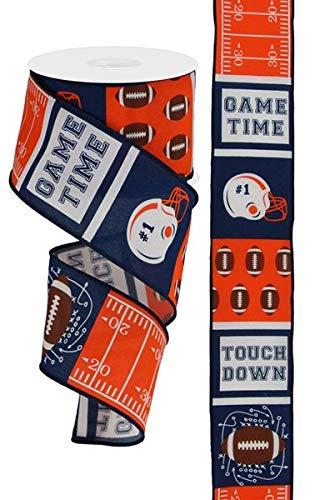 Football Block Pattern Wired Edge Ribbon - 10 Yards (Navy, Orange, 2.5 Inch)