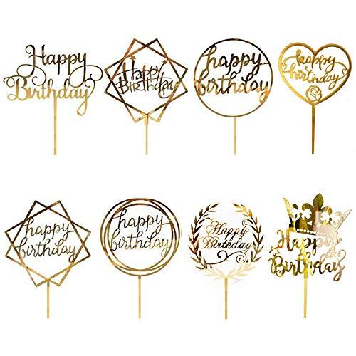CBGGQ 8 Pcs Gold Happy Birthday Cake Topper Set, Acryl Glitter Cupcake Topper für Geburtstagspartys Dekoration, Tortenstecker für Geburtstagsdeko für Mädchen, Kinder, Hochzeit, Mutter (Gold)