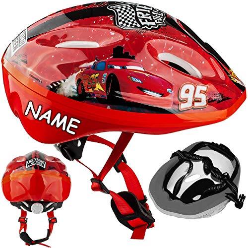 alles-meine.de GmbH Kinderhelm - Disney Cars / Lightning McQueen - Auto - Gr. 52 - 56 - Circa 3 bis 15 Jahre - incl. Namen - Verstellbarer Helm - Fahrradhelm größenverstellba..
