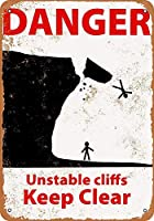 Danger Unstable Cliffs 金属板ブリキ看板警告サイン注意サイン表示パネル情報サイン金属安全サイン