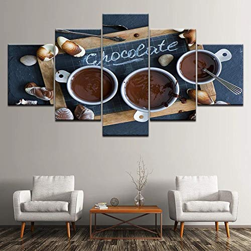 AWER 5 piezas de lienzo de arte de pared -Cuadro sobre Lienzo- Café de chocolate postre pizarra Impresión en Lienzo- Listo para Colgar - en un Marco - Ancho: 150cm, Altura: 80cm