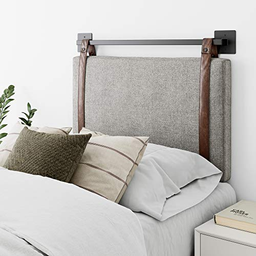 Nathan James Harlow Wall Mount Faux Leather or Fabric Upholstered Headboard, Adjustable Height Vintage Brown Straps with Black Matte Metal Rail, Twin, Gray