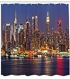 ajhgfjgdhkmdg Ciudad de Nueva York Nueva York horizonte nocturno paisaje urbano antibacteriano impermeable cortina de baño decoración
