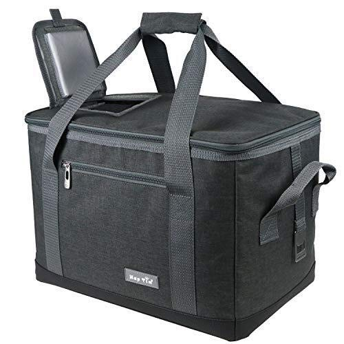 Hap Tim Soft Cooler Bag 40 Can Large Reusable Grocery Bags Upgraded Soft Sided Collapsible Travel Cooler for Outdoor Travel Hiking Beach Picnic BBQ Party US13634 Dark Grey
