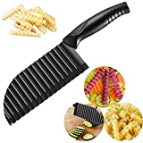 Crinkle Potato Cutter - 2.9' x 11.8' 420 Stainless Steel Waves French Fries Slicer, Save-effort Handheld Chipper Chopper, Vegetable Salad Chopping Knife Home Kitchen Wavy Blade Cutting Tool, Black
