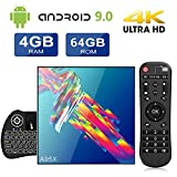 A95X TV Box Android 9.0[4GB RAM +64GB ROM] RK3318 Quad-Core Cortex-A53 CPU Dual Band WiFi 2.4G/5GHz Bluetooth 4.2 4K Ethernet LAN100M H.265 with Wireless Mini Backlit Keyboard Smart TV Box