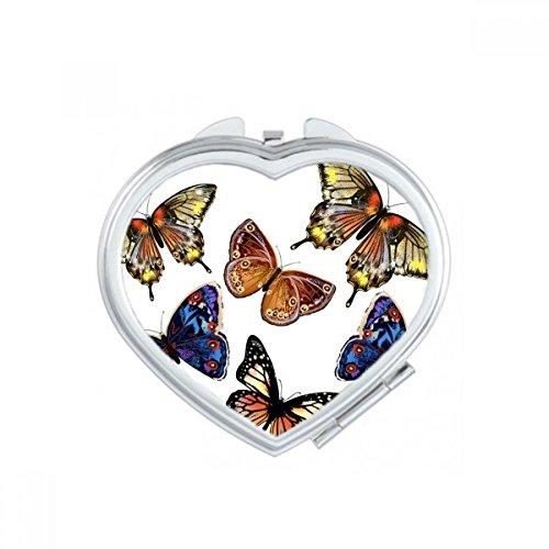 DIYthinker Bébé Rose et Bleu Papillon Collection Coeur Maquillage Compact Miroir de Poche Miroirs Mignon Petit Cadeau Portable à la Main Multicolor