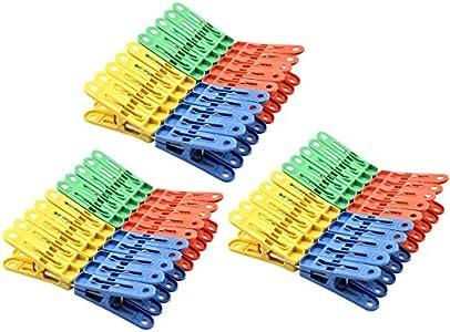 Jinlaili 60 Pcs Pinzas para La Ropa, Pinzas para Ropa de Plástico, Multicolor Pinzas de Toalla de Playa, Resistentes al Viento Pinzas para la Ropa y el Lavarse Uso Tendederos en Interiores Exteriores