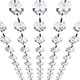 pink accent gems - Crystal Acrylic Gems Bead Garland Strands, KinHom 16 Feet Hanging Clear 14mm Daimond Beads Chain Garlands for Manzanita Tree Centerpiece, Chandelier Bead Lamp Chain, Christmas/Wedding Party Decoration