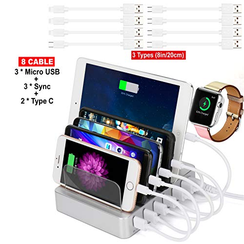 8 Port USB Charging Station Dock Desktop Charging Organizer 5V 2.4A Quick Charge Smatphone, Cell Phones, Tablets Other USB-Charged Devices (Silver)