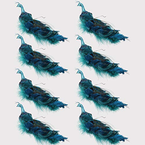 Mingfuxin 12' Glitter Peacock Ornaments, Teal Blue Peacock Christmas Ornaments Clip-on Birds Turquoise Peacock Christmas Tree Ornaments Christmas Decorations, Set of 8