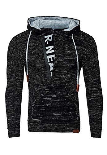 Rusty Neal FR13277 Herren Strickpullover Kapuzenpullover Hoodie Pullover, Größe:M, Farbe:Schwarz/Grau