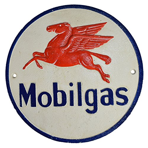 AB Tools Carburant Mobilgas Fonte Ronde Plaque Sign Garage Mur Atelier Essence Shop