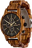 Maui Kool Wooden Chronograph Watch Pukulani Collection for Men Analog Chrono Wood Watch Bamboo Box (U6 - Zebra Wood Black Face)