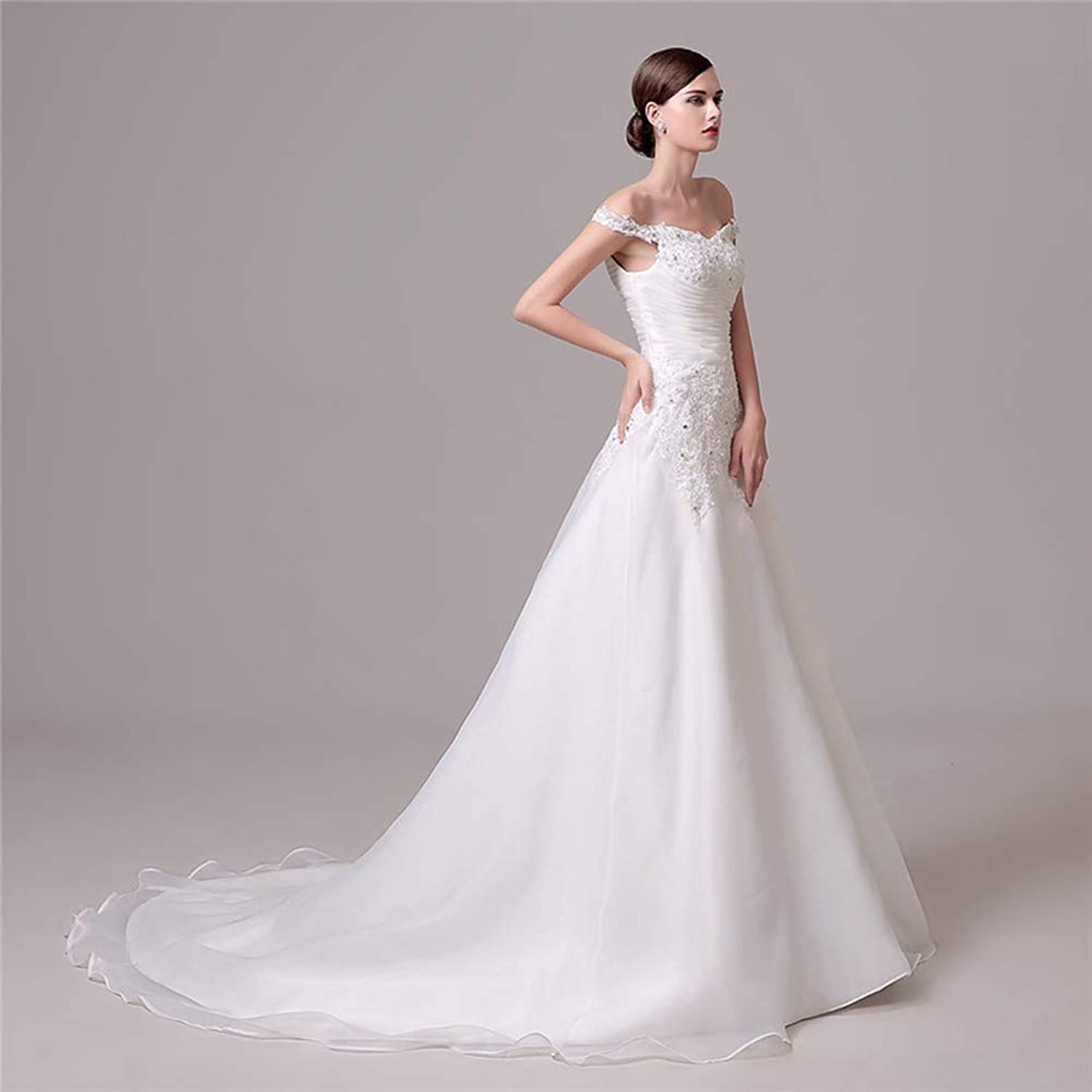 Women's Wedding Lace Strapless Elegant Temperament Princess Wedding Dress Adult Dress Evening Dress,US22W