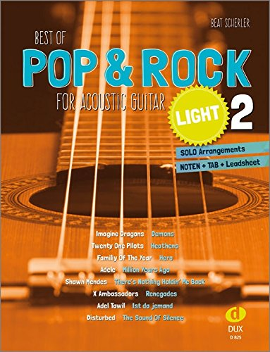 Best of Pop & Rock for Acoustic Guitar light 2: Solo Arrangements Noten + TAB + Leadsheet