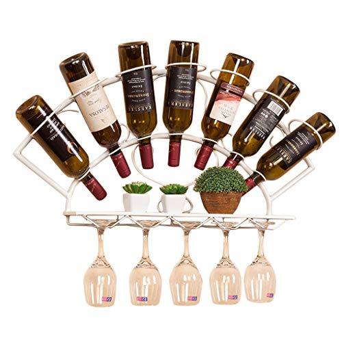Goede decoratie Industriële Wind IJzeren Wijn Rek Muur Mount Scalloped Rode Wijnfles Goblet Display Stand Keuken Suspension Opslag Rack, Houdt 7 flessen En 10 Glazen Beker Kleur: wit