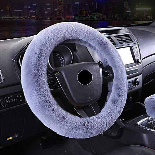 Le pluche Winter Rabbit pluche stuurhoes auto gear cover handrem cover driedelige auto stuurhoes 38cm Pure kleur driedelig pak bruin