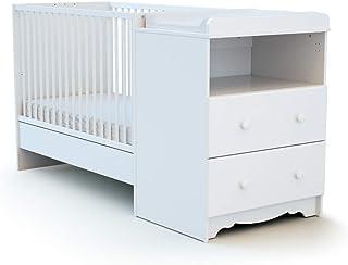 Lit pour b/éb/é /à grillades avec tiroir 120 x 60 cm Blanc stable avec motif c/œur Matelas neuf